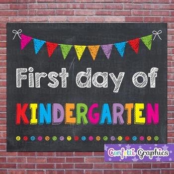 First Day of Kindergarten Chalkboard Chalk Sign Back to School Photo Prop