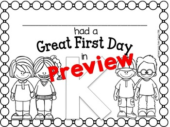 First Day of Kindergarten Coloring and Certificate Free
