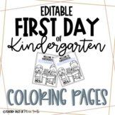 First Day of Kindergarten EDITABLE coloring page
