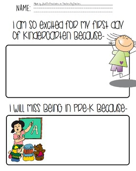 First Day of Kindergarten Fun Page