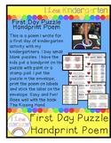 First Day of Kindergarten Handprint Puzzle Poem