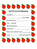 First Day of Kindergarten Interview Sheet