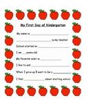 First Day of Kindergarten Interview Sheet