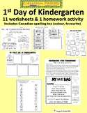 First Day of Kindergarten Packet of Worksheets with U.S. and Canadian Spelling