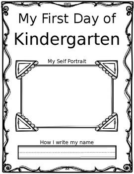 First Day of Kindergarten Self Portrait - EDITABLE