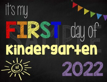 image regarding First Day of Kindergarten Sign Printable called 1st Working day of Kindergarten Signal (Rainbow): Printable