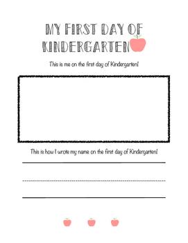 First Day of Kindergarten Worksheet