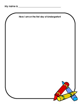 First Day of Kindergarten Writing and Drawing Sample