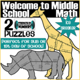 First Day of Middle School 2 Math Animal Puzzles 6th grade Review
