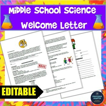 Back to School First Day of Middle School Science Welcome Letter EDITABLE