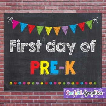 First Day of Pre-K Chalkboard Chalk Sign Back to School Photo Prop