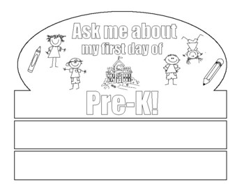 First Day Of Pre K Crown First Day Of School Coloring Page For Pre K