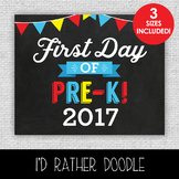 First Day of Pre-K Printable Chalkboard Sign - 3 Sizes Included