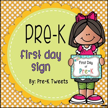 First Day of Pre-K Sign - Polka Dot