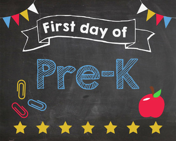 picture regarding First Day of Pre K Sign Printable named Initially Working day of Pre K signal PRINTABLE