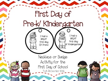 First Day of Pre-k/Kindergarten Necklace or Badge