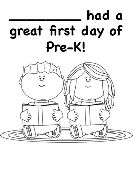 First Day of PreK Coloring Pages