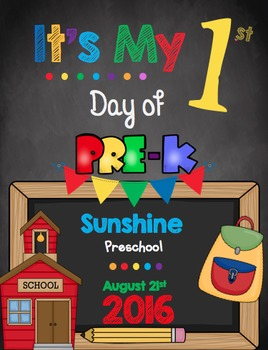 First Day of PreK Sign - EDITABLE - Chalkboard Poster