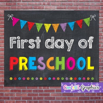 First Day of Preschool Chalkboard Chalk Sign Back to School Photo Prop