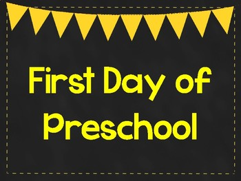 First Day of Preschool Printable Posters. First Day of School Signs. 6 Colors.