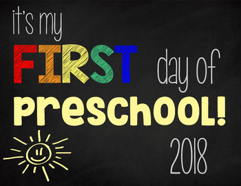 First Day of Preschool (Rainbow): Printable Sign