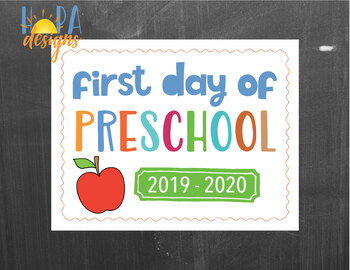 First Day of Preschool Sign - 1st Day of PreK Printable Sign - Classroom signs