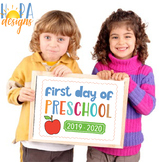 First Day of Preschool Sign - 1st Day of PreK Printable Si