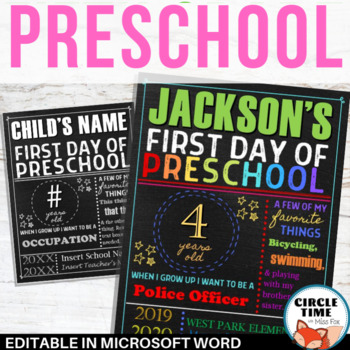 graphic relating to First Day of Preschool Sign Printable known as 1st Working day of Preschool Indication Board, Printable 1st Working day of Faculty Indication EDITABLE