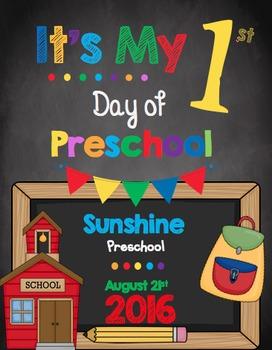 First Day of Preschool Sign - EDITABLE - Classroom Photos - Chalkboard