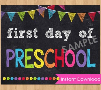 photograph relating to First Day of Preschool Sign Printable called 1st Working day of Preschool Indicator Printable Back again in direction of Higher education Chalkboard Poster