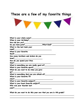 First Day of School 4th Grade Worksheet Ice Breakers