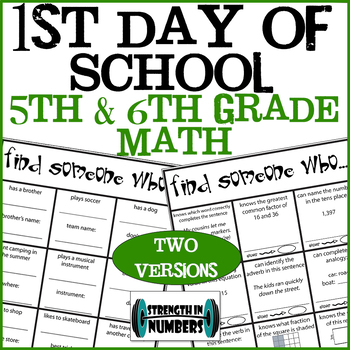 First Day of School 5th or 6th Grade Find Someone Who Ice Breaker