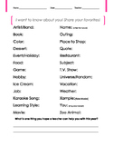 First Day of School ABC Favorites Activity