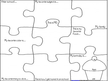 First Day of School About Me Puzzle