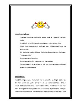 First Day of School Action Plan with Script