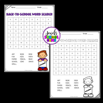 First Day of School Activities ❤ Back to School Word Search