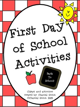 First Day of School Activities 2nd-4th Grade