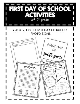 First Day of School Activities 3-5 by TX SpEd | Teachers Pay