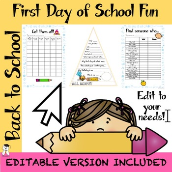 First Day of School Activities - BTS 2019 - Pennant Included - Editable PPT