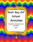 First Day of School Activities Back to School packet