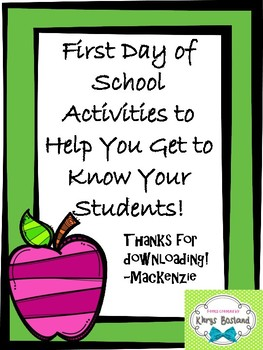 First Day of School Activities FREEBIE!!!