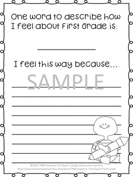 First Day of First Grade Worksheets