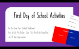 First Day of School Activities & Getting To Know Your Stud