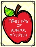 First Day of School Activity