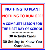 First Day of School Activity Cards and Lesson Plan