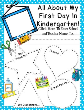 First Day of School Activity  **EDITABLE** ~Color & B&W~  PreK-1 PLUS Blank!