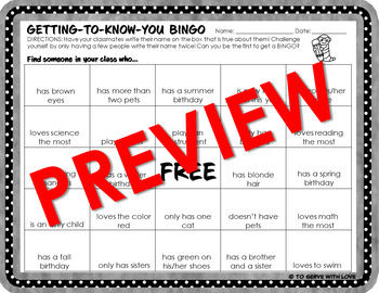 First Day of School Activity // Getting to Know You BINGO // freebie icebreaker
