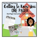 First Day of School Activity: Back to School Getting to Know You One Pager