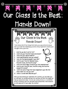 Our Class Is the Best: Hands Down! First Day of School Activity