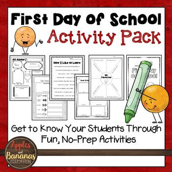 First Day of School Activity Pack (Yellow)
